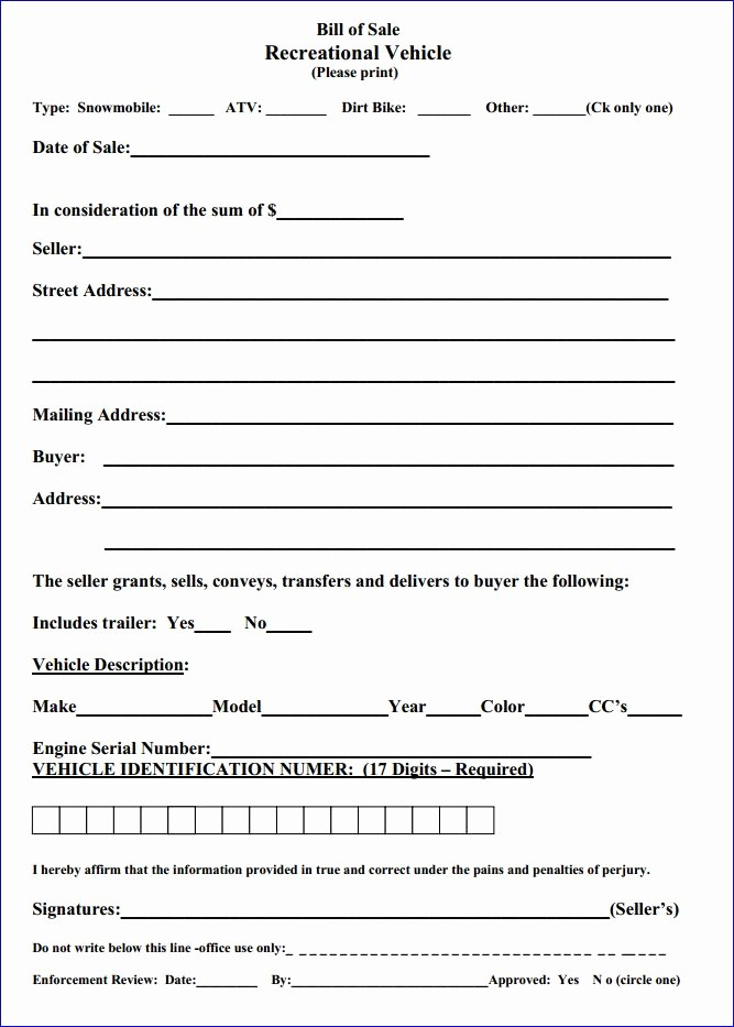 Bill Of Sale form Automobile Elegant Free Massachusetts Recreational Vehicle Bill Of Sale form