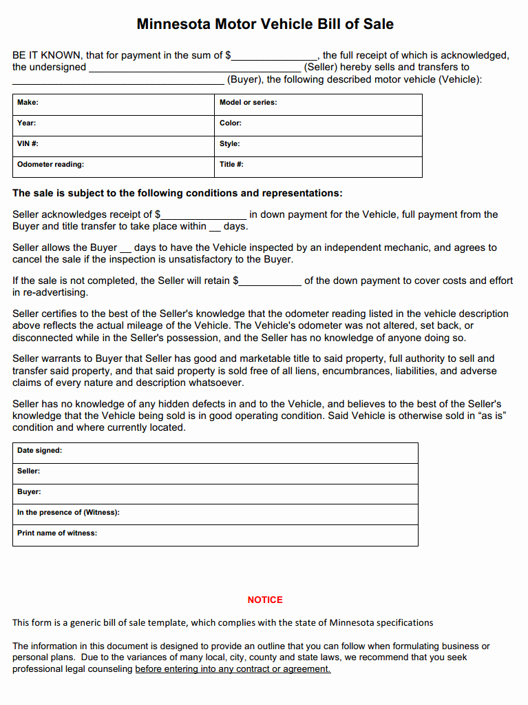 Bill Of Sale form Automobile Elegant Free Minnesota Vehicle Bill Of Sale form Download Pdf