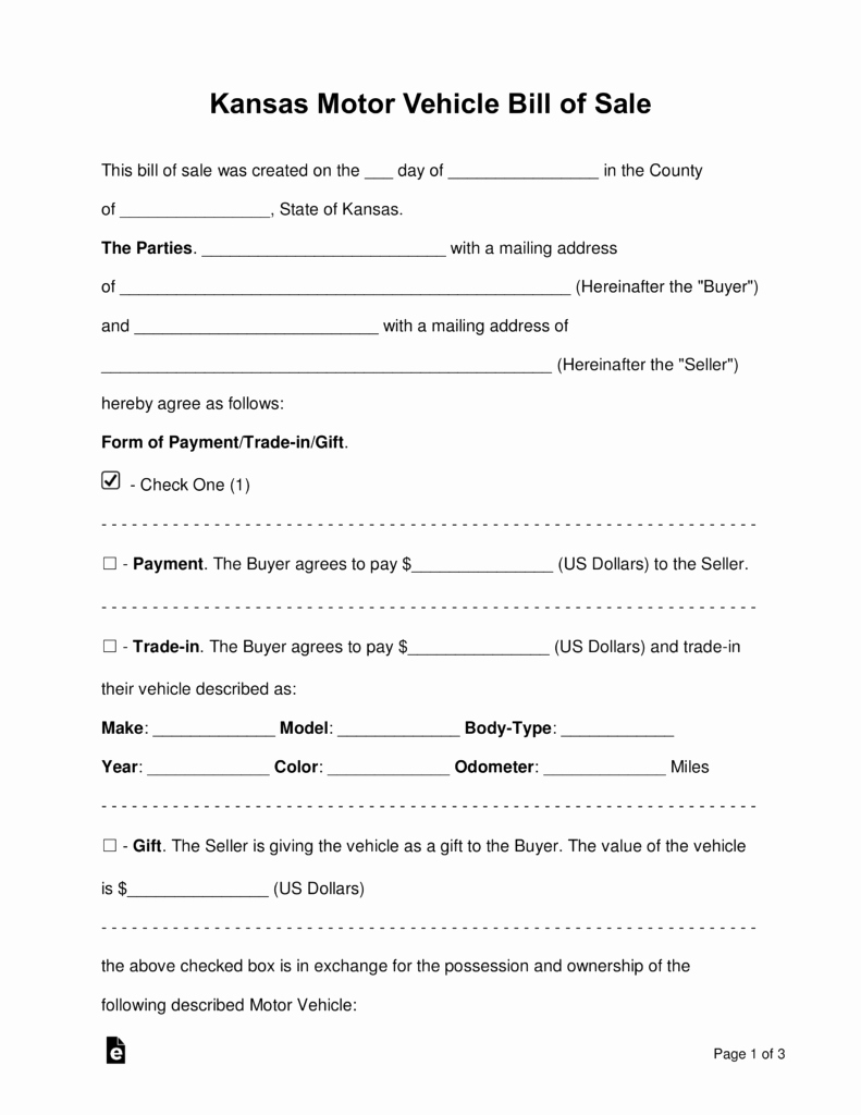 Bill Of Sale form Automobile Fresh Free Kansas Vehicle Bill Of Sale form Word