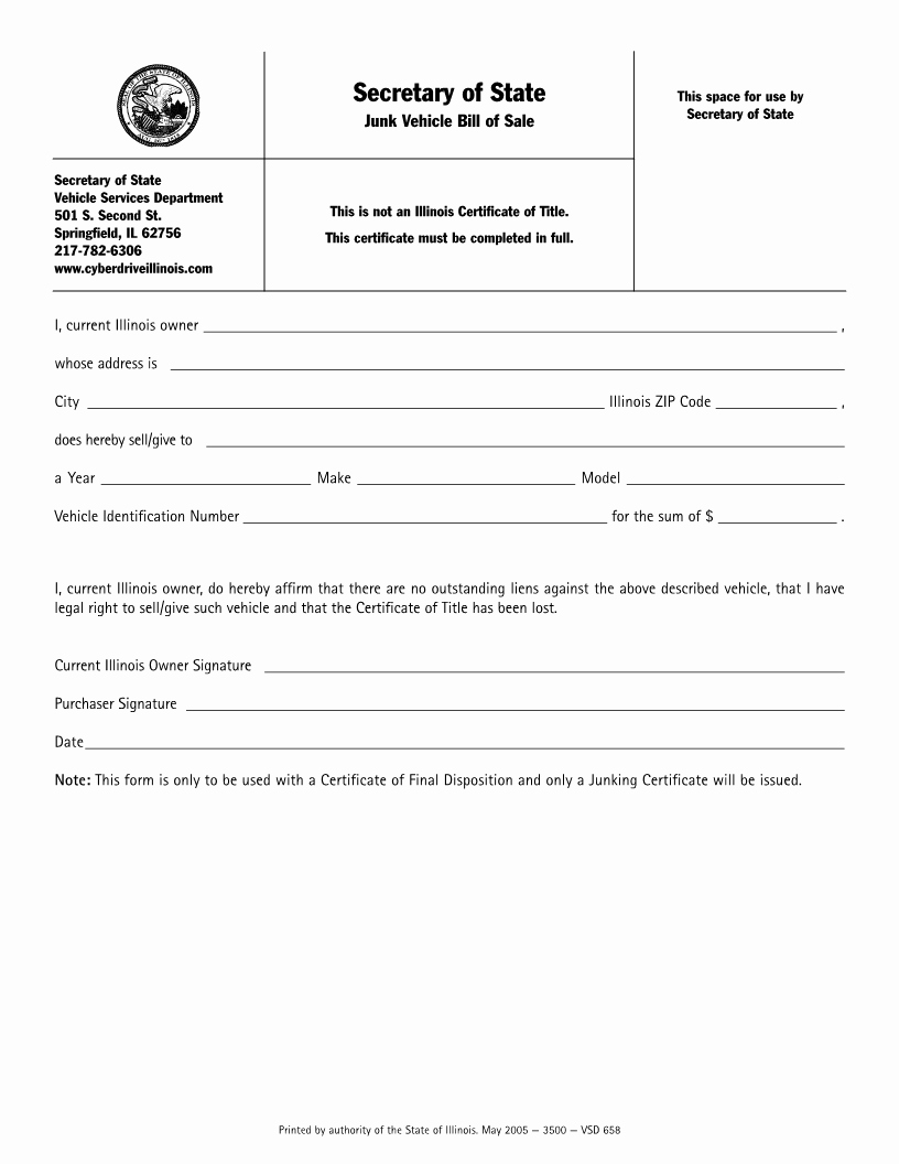 Bill Of Sale form Automobile Lovely Free Illinois Junk Vehicle Bill Of Sale form Download