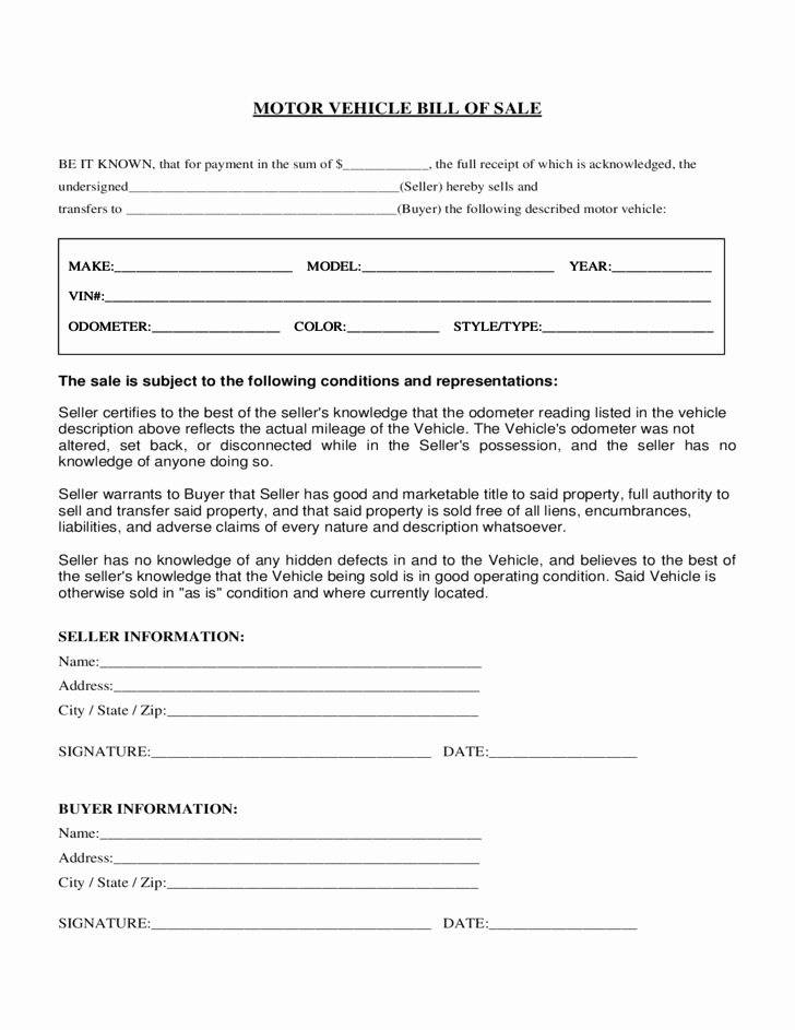 Bill Of Sale form Automobile Luxury Motor Vehicle Bill Of Sale form Florida Free Download