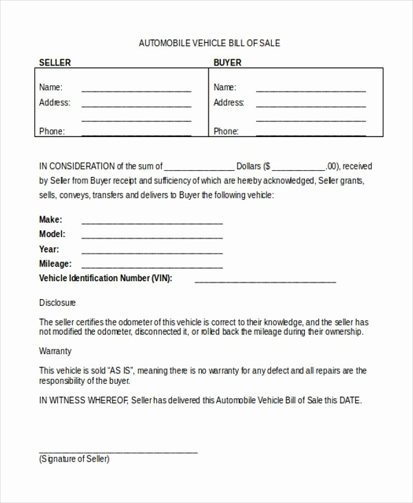 Bill Of Sale form Automobile Luxury Sample Bill Of Sale form for Vehicle 8 Free Documents