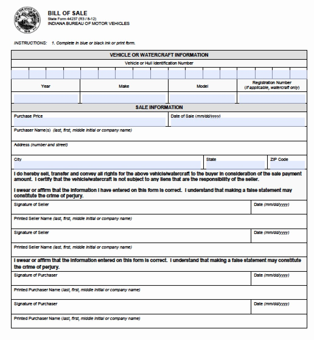 Bill Of Sale form Automobile New Free Indiana Vehicle Bmv Bill Of Sale form