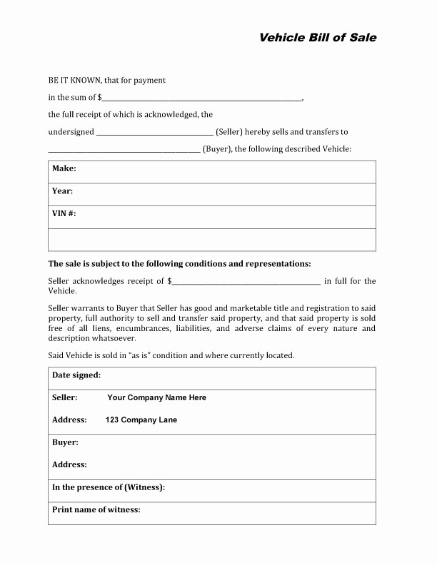 Bill Of Sale form Automobile New Free Printable Auto Bill Of Sale form Generic