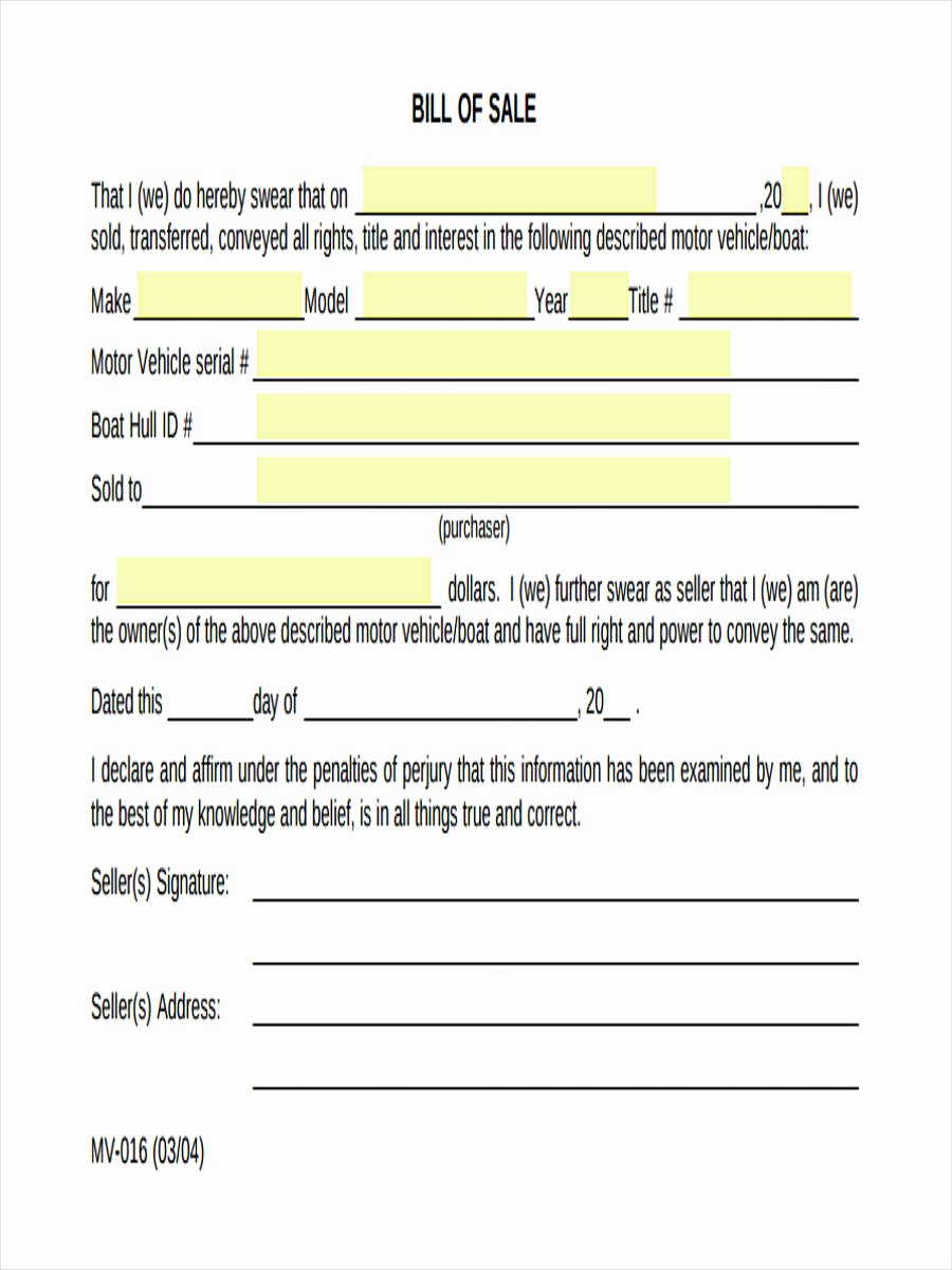 Bill Of Sale form Download Awesome 7 Generic Bill Of Sale form Sample Free Sample Example