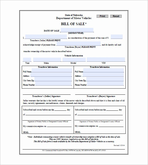 Bill Of Sale form Download Elegant Bill Of Sale form – 10 Free Word Excel Pdf format