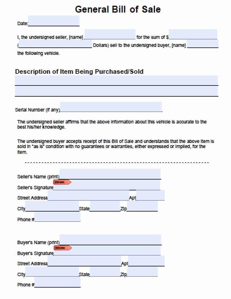 Bill Of Sale form Download Elegant Download General Blank Bill Of Sale form Pdf