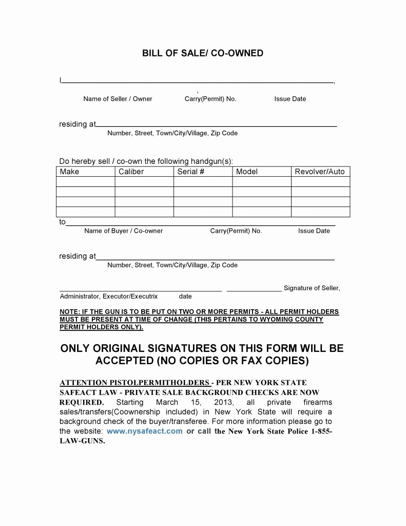 Bill Of Sale form Download Unique Free New York Firearms Bill Of Sale form Pdf