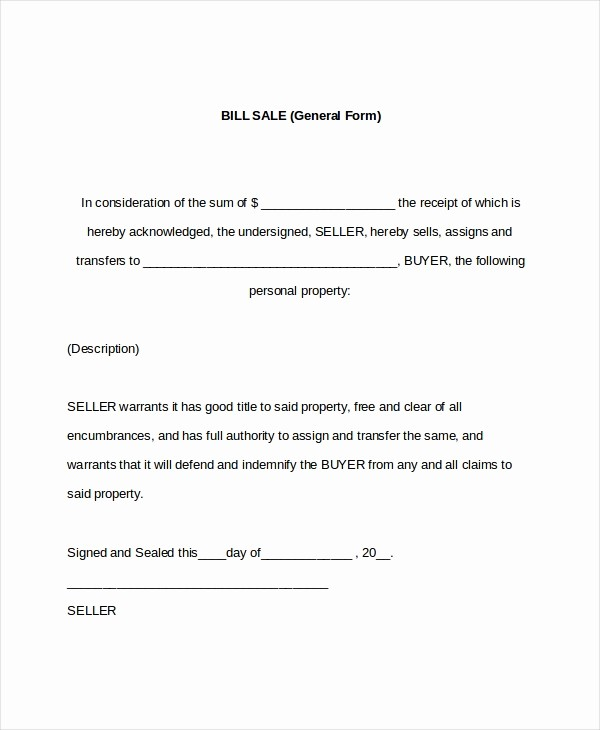 Bill Of Sale form Example Beautiful 7 Sample General Bill Of Sale forms