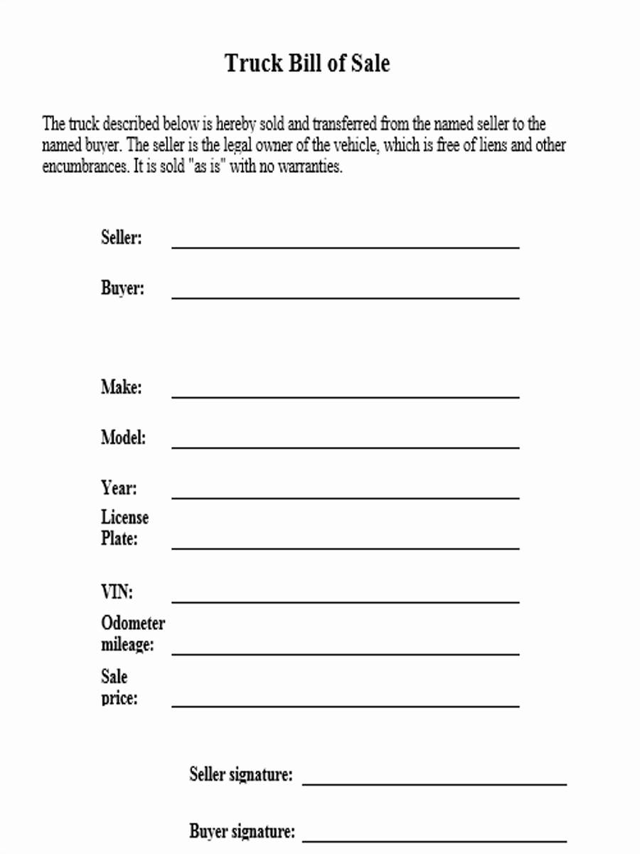 Bill Of Sale form Example Best Of 4 Truck Bill Of Sale form Sample Free Sample Example