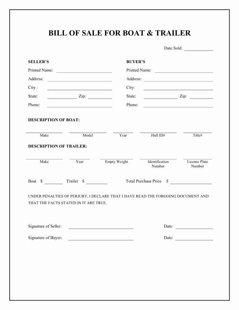 Bill Of Sale form Example Lovely Free Boat & Trailer Bill Of Sale form Download Pdf