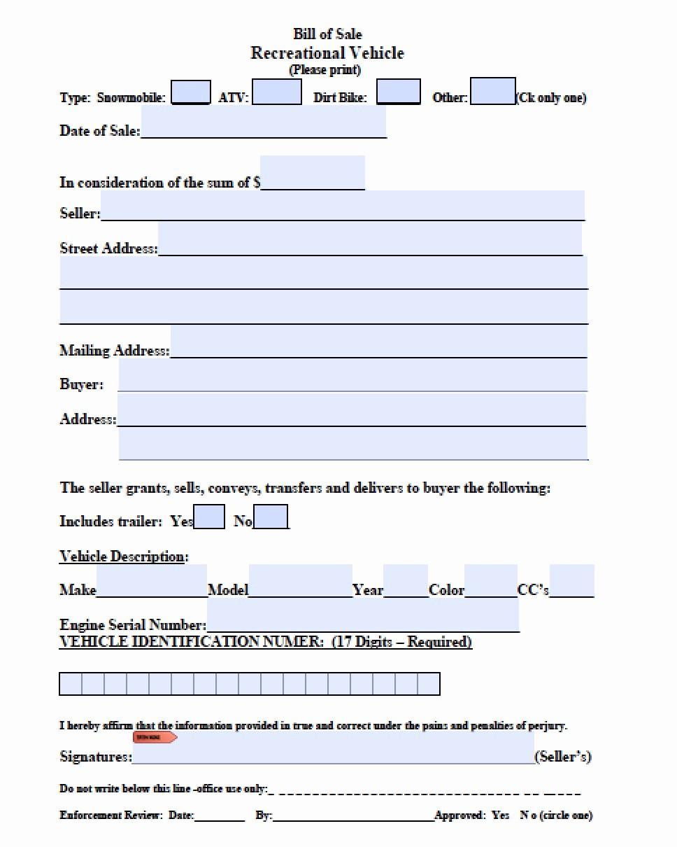 Bill Of Sale form Ma Awesome Free Massachusetts atv Snowmobile Bike Bill Of Sale form