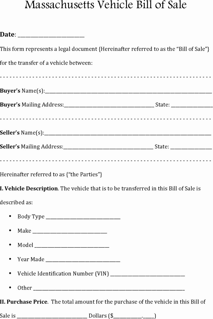 Bill Of Sale form Ma Awesome Massachusetts Division Motor Vehicles Impremedia