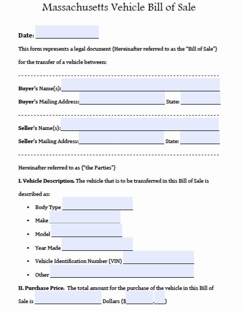 Bill Of Sale form Ma Fresh Free Massdot Rmv Registry Of Motor Vehicles Auto Bill Of