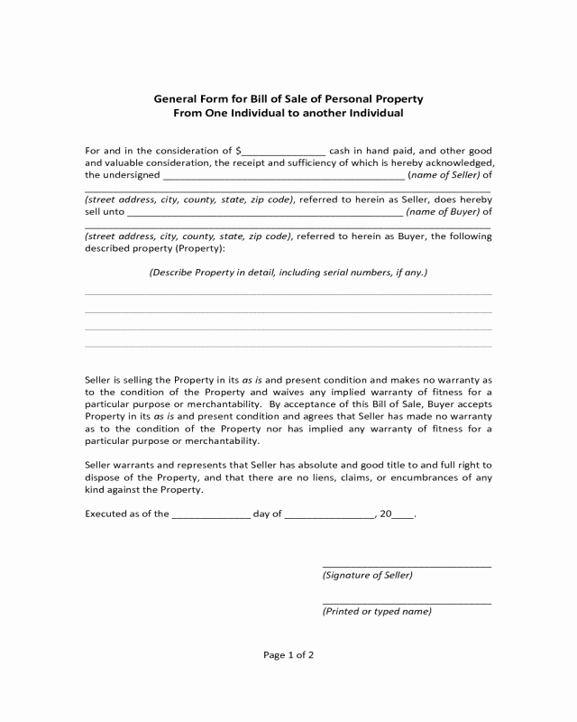 Bill Of Sale form Ma Fresh General form for Bill Of Sale Of Personal Property
