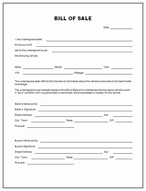 Bill Of Sale form Ma Inspirational Free Vehicle Bill Sale