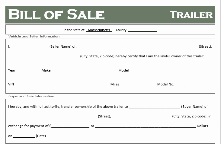 Bill Of Sale form Ma Lovely Free Massachusetts Trailer Bill Of Sale Template F