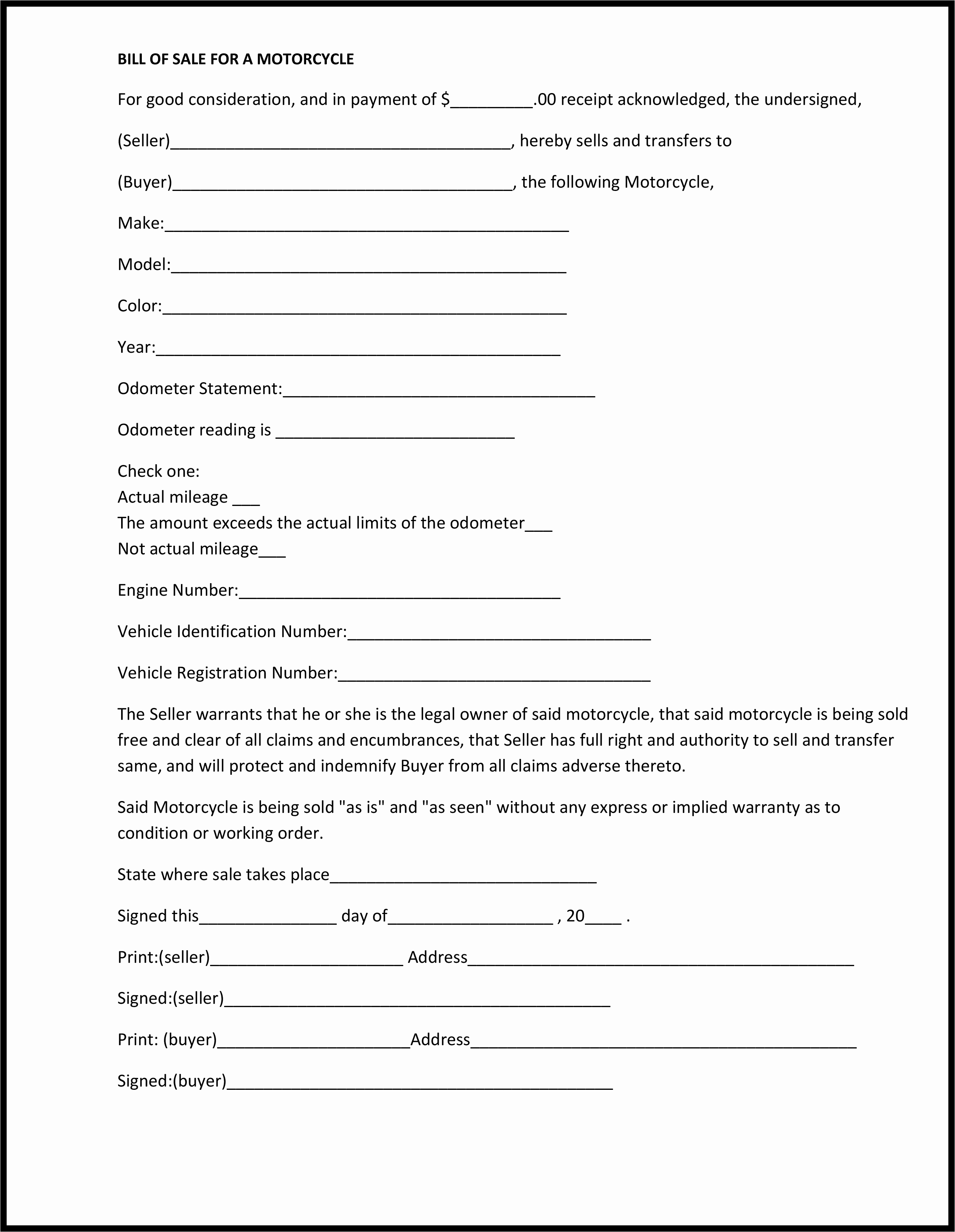 Bill Of Sale form Ma Luxury Free Bill Sale forms Pdf Template form Download