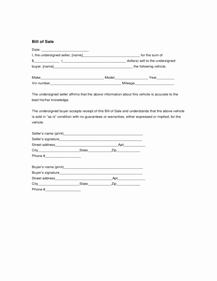 Bill Of Sale form Ma Unique Car Sale form Massachusetts Free Download