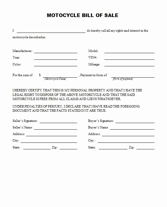 Bill Of Sale form Motorcycle Awesome Free Printable Motorcycle Bill Of Sale form Generic