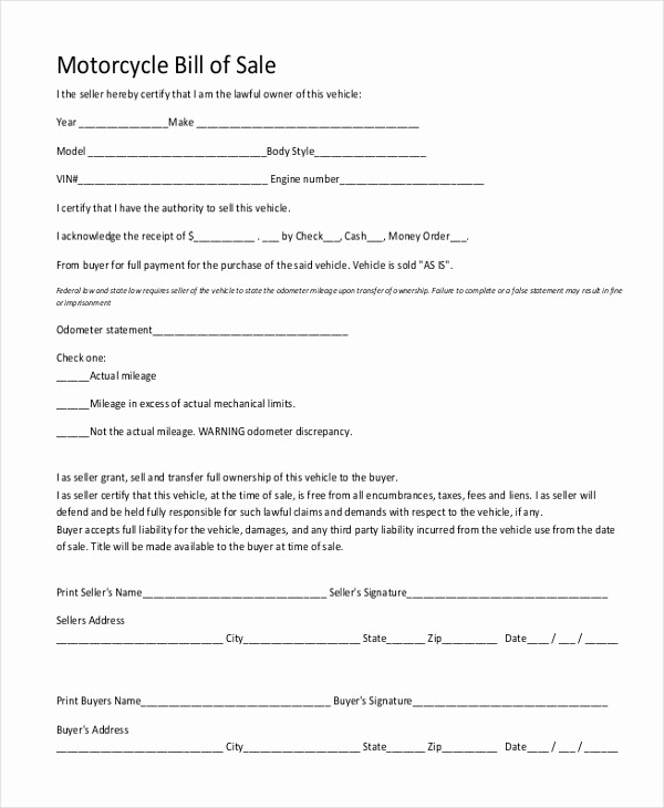 Bill Of Sale form Motorcycle Beautiful Sample Motorcycle Bill Of Sale form 7 Free Documents In