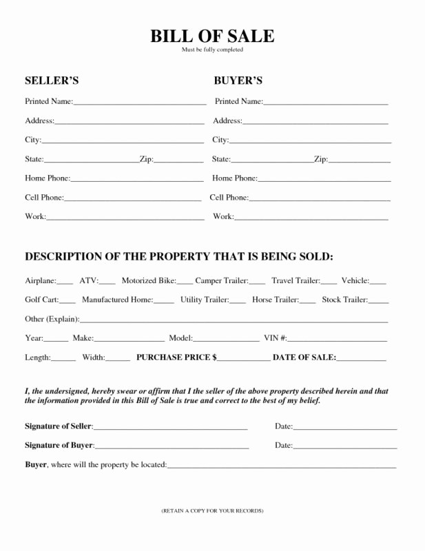 Bill Of Sale form Motorcycle Best Of Motorcycle Bill Sale