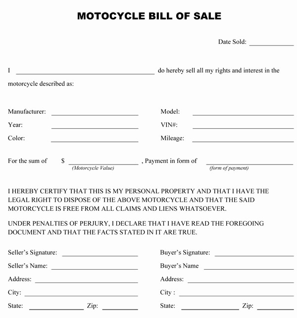 Bill Of Sale form Motorcycle Elegant Free Printable Motorcycle Bill Of Sale form Generic