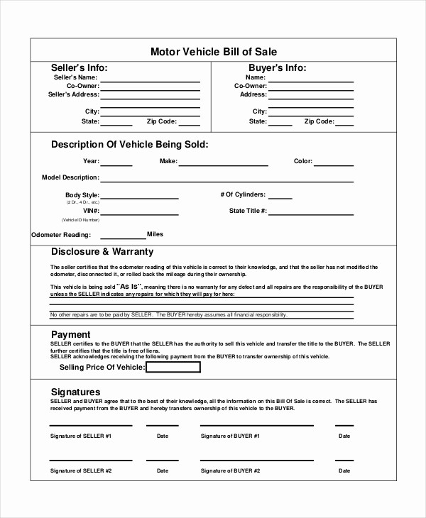 Bill Of Sale form Motorcycle Inspirational 7 Sample General Bill Of Sale forms