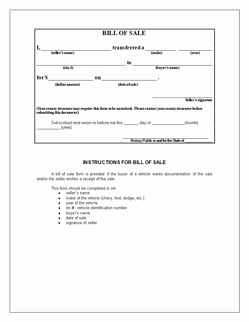 Bill Of Sale form Motorcycle New Free Generic Bill Of Sale for Motorcycle