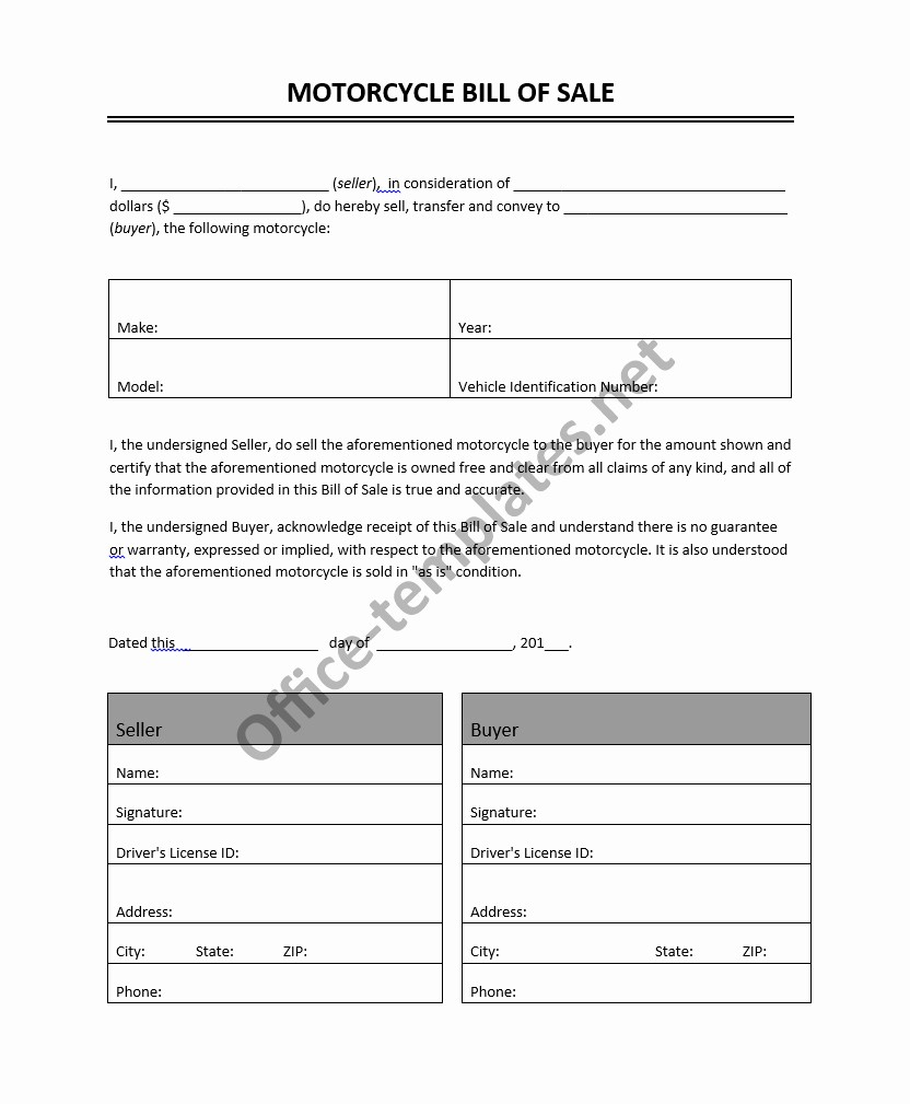Bill Of Sale form Motorcycle New Motorcycle Bill Of Sale