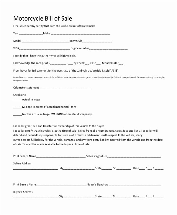 Bill Of Sale form Motorcycle New Simple Bill Of Sale form Sample 9 Free Documents In Pdf