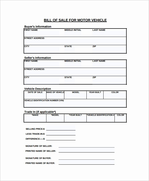 Bill Of Sale form Motorcycle Unique 8 Motorcycle Bill Of Sale Templates
