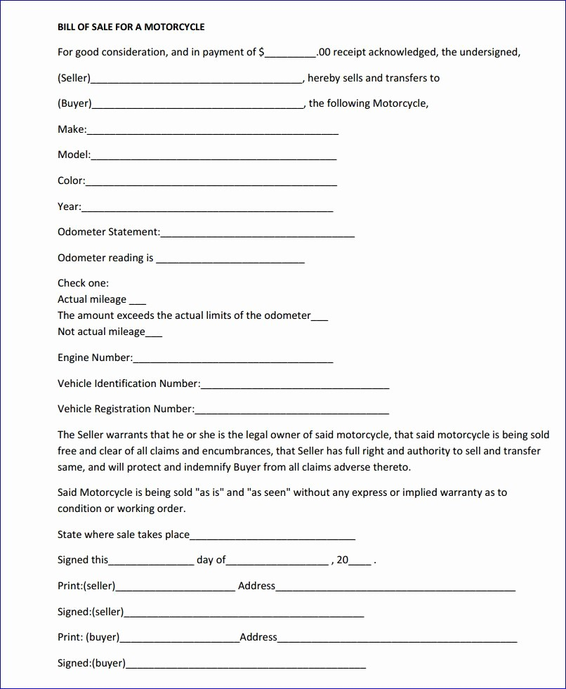 Bill Of Sale form Motorcycle Unique Free Massachusetts Motorcycle Bill Of Sale form Download