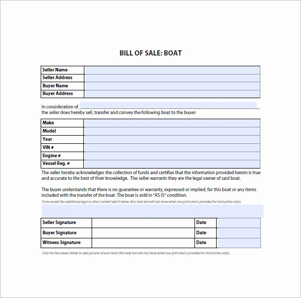 Bill Of Sale form Template Elegant Bill Of Sale form – 10 Free Sample Example format