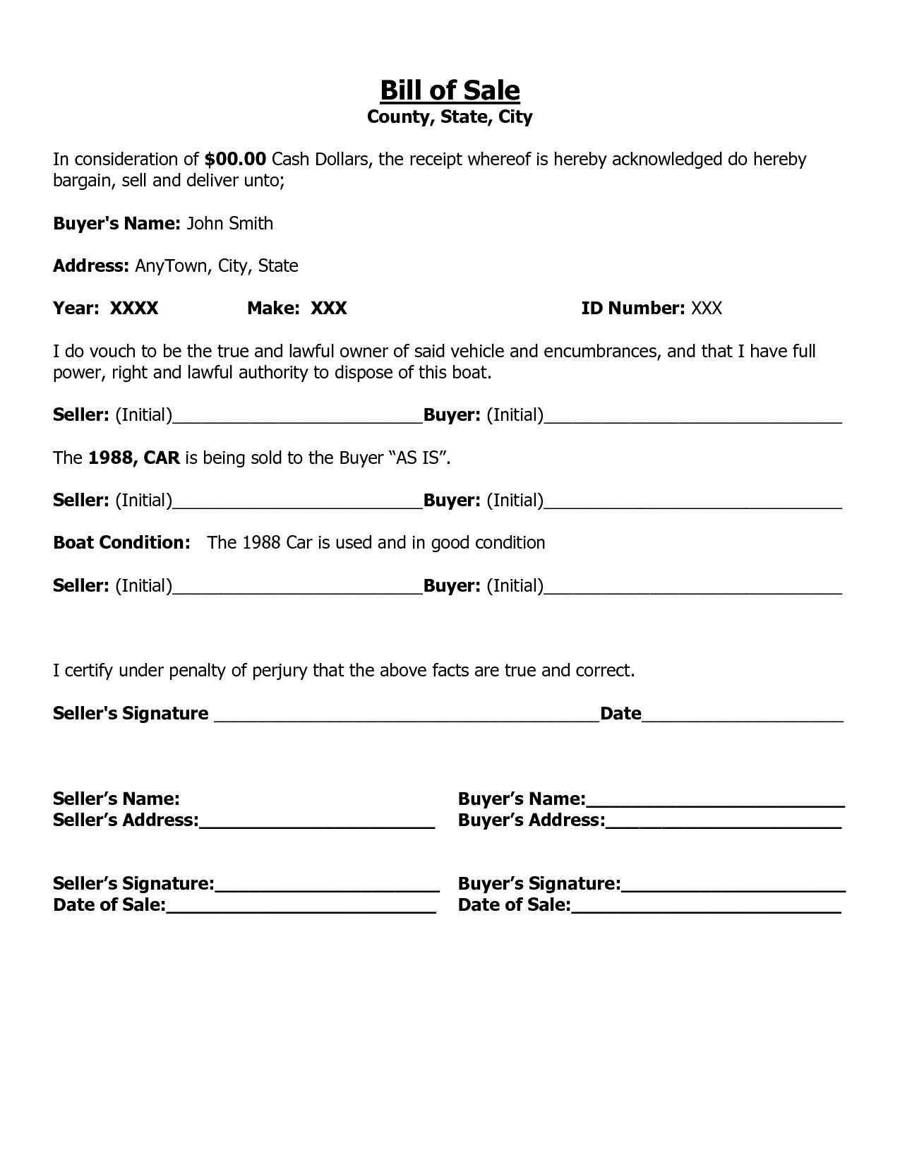 Bill Of Sale form Template Inspirational Free Printable Free Car Bill Of Sale Template form Generic