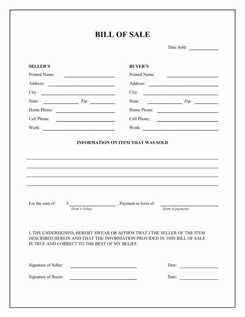 Bill Of Sale form Template Luxury Free Bill Sale Template
