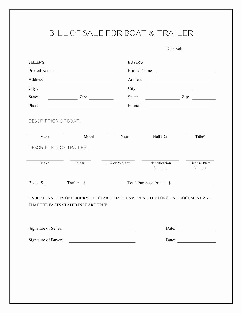 Bill Of Sale form Template New 45 Fee Printable Bill Of Sale Templates Car Boat Gun