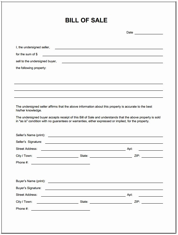 Bill Of Sale form Template Unique Free Blank Bill Of Sale form Pdf Template