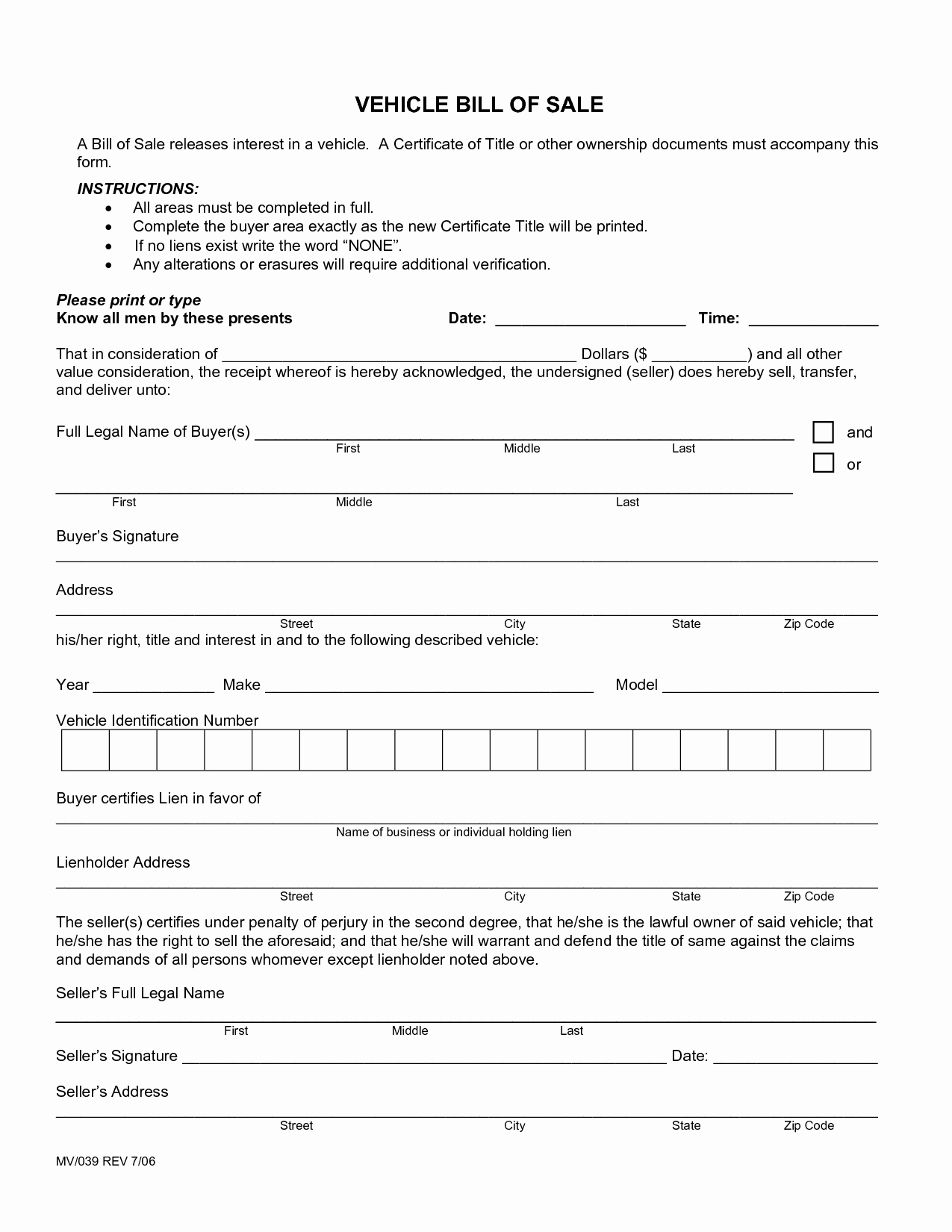 Bill Of Sale form Template Unique Printable Sample Free Car Bill Of Sale Template form