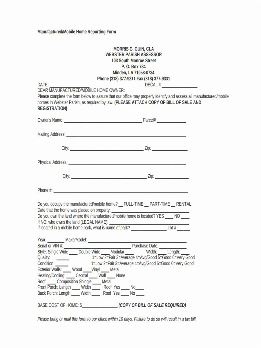 Bill Of Sale format Sample Awesome 5 Mobile Home Bill Of Sale Sample Free Sample Example