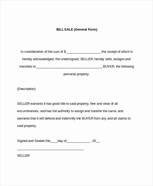 Bill Of Sale format Sample Elegant 7 Sample General Bill Of Sale forms