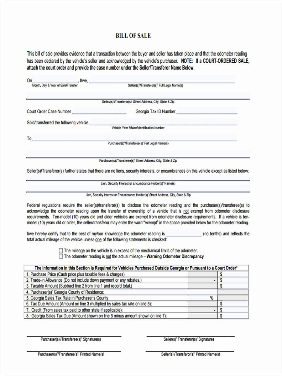 Bill Of Sale format Sample Inspirational 7 Generic Bill Of Sale form Sample Free Sample Example