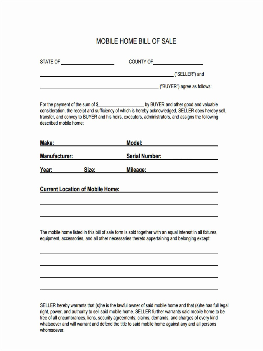Bill Of Sale format Sample Luxury 5 Mobile Home Bill Of Sale Sample Free Sample Example