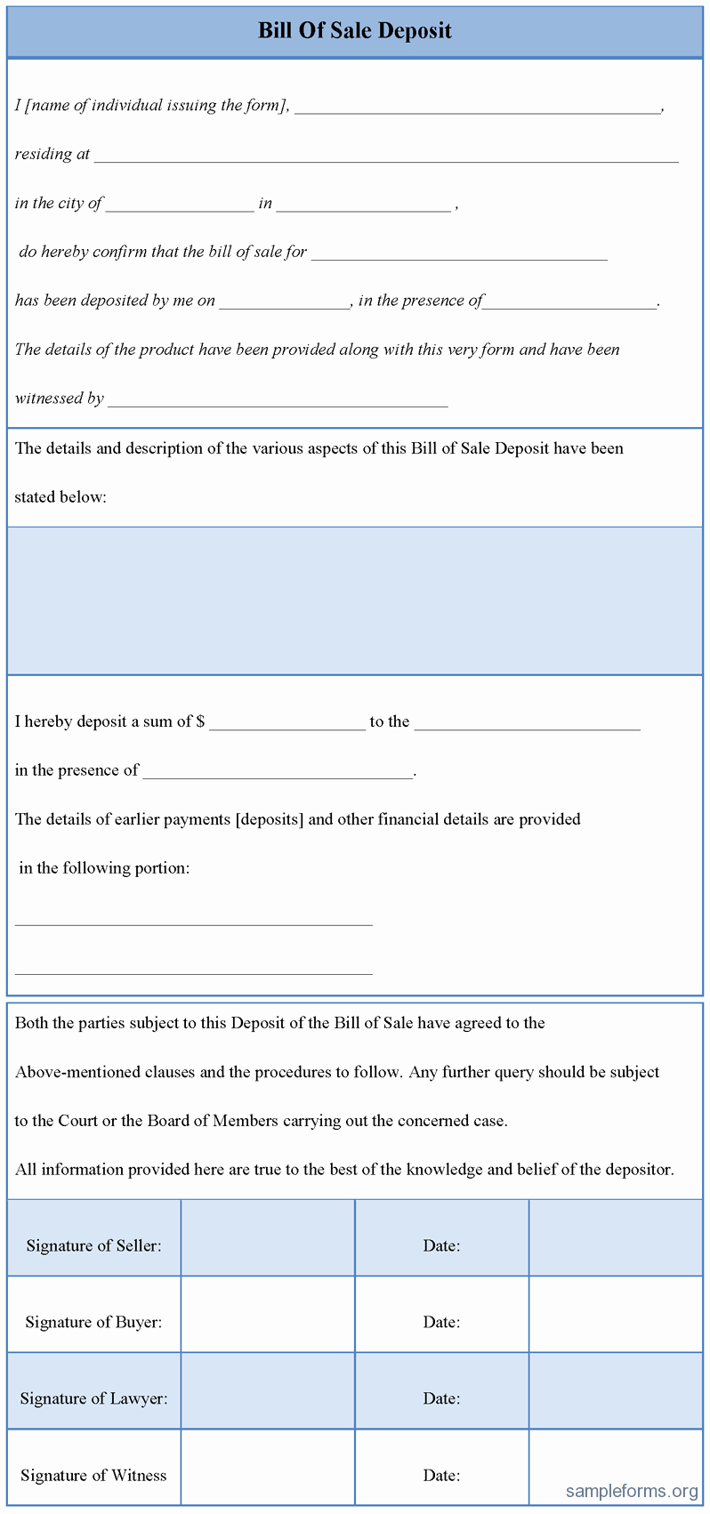 Bill Of Sale format Sample New Bill Of Sale Deposit form Sample forms