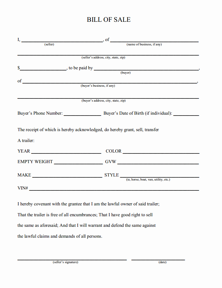 Bill Of Sale Free form Best Of Free Printable Camper Bill Of Sale form Free form Generic