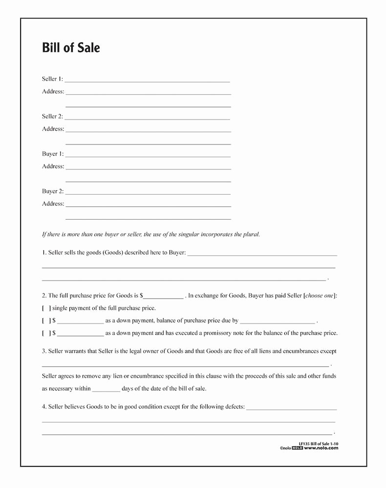 Bill Of Sale Free form Fresh Bill Of Sale form Template Vehicle [printable]