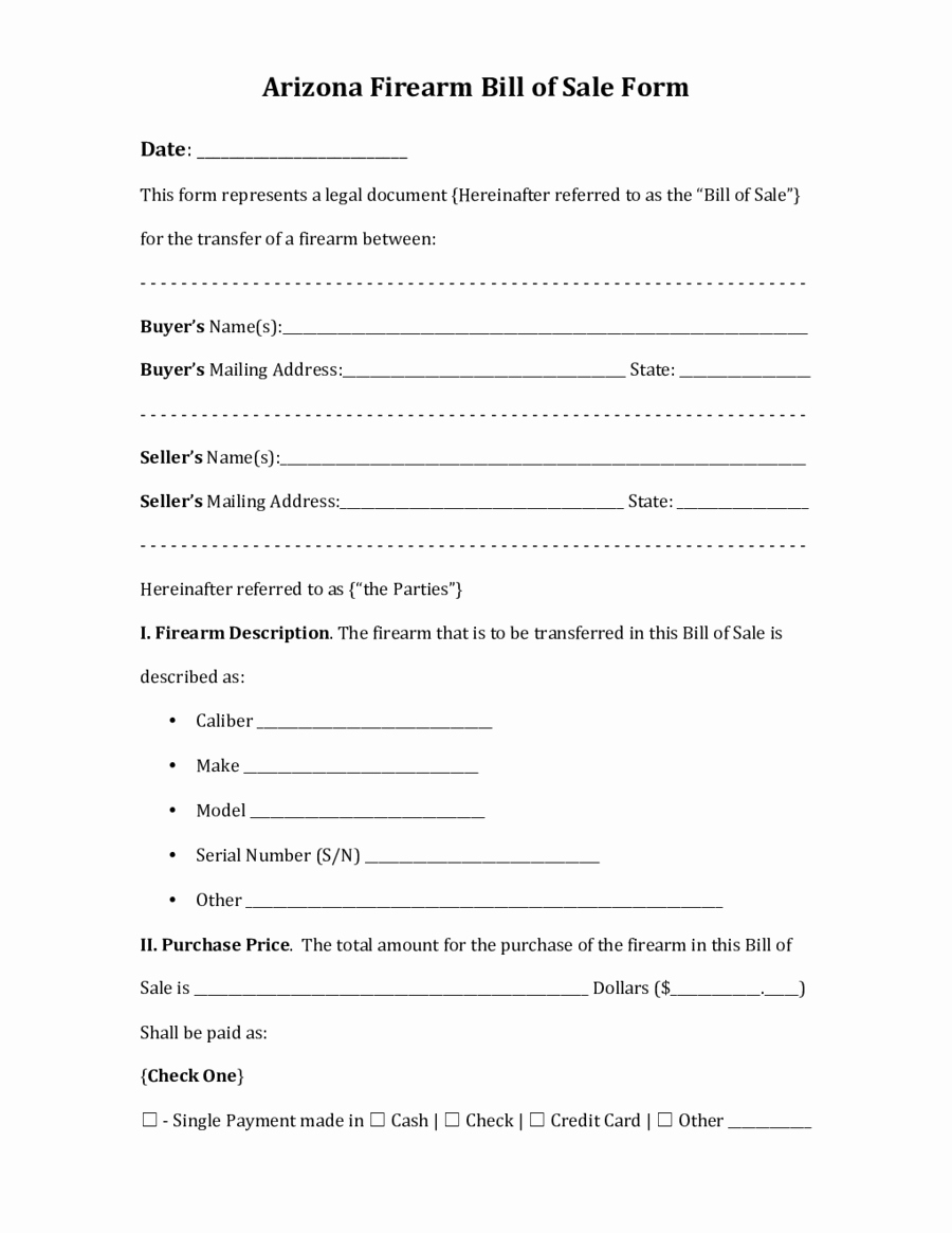 Bill Of Sale Free form New 2019 Firearm Bill Of Sale form Fillable Printable Pdf