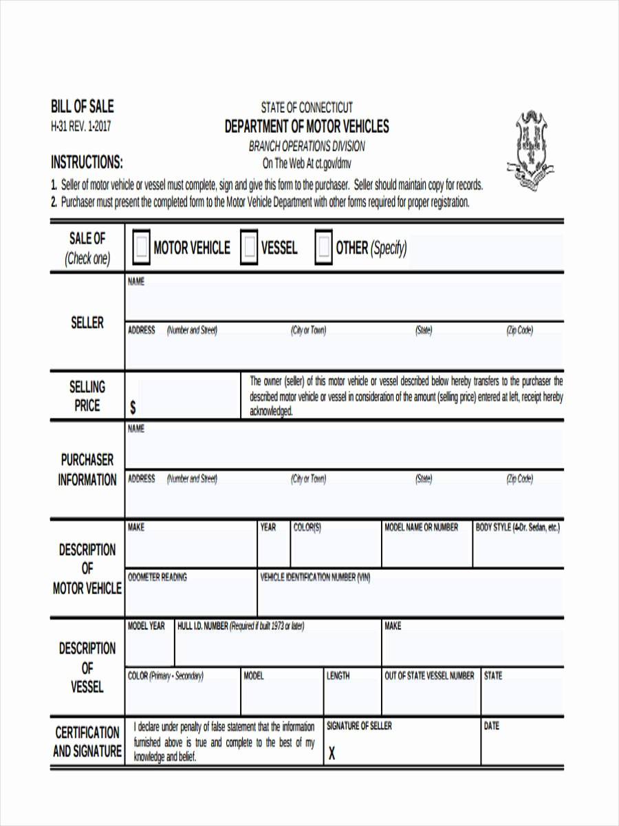 Bill Of Sale Free form Unique Business Bill Of Sale forms 7 Free Documents In Word Pdf