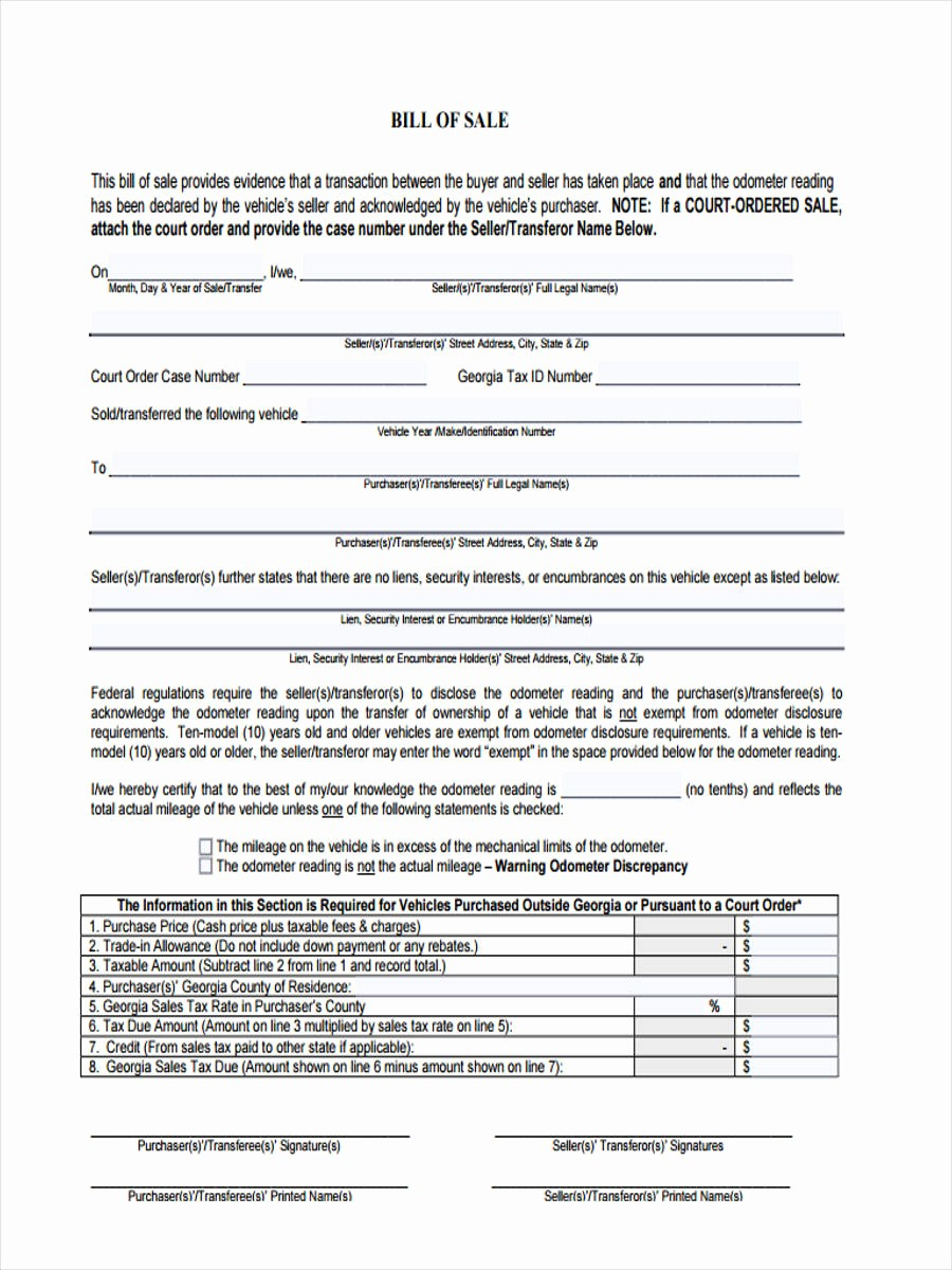 Bill Of Sale Generic form Beautiful 7 Generic Bill Of Sale form Sample Free Sample Example