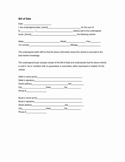 Bill Of Sale Generic form Beautiful General Bill Of Sale form Free Download Create Edit
